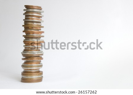 Stack of (GBP) coins with clipping path