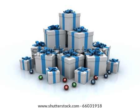 Stack of gift boxes and christmas balls