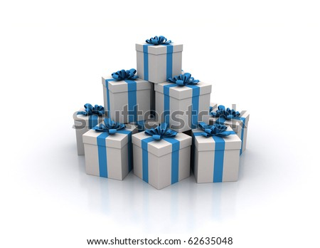 Stack of gift boxes 3d render - Christmas background