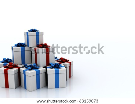 Stack of Gift boxes with copy space - stock photo