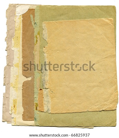 stack of glued together sheets of yellowed old paper  isolated on white background