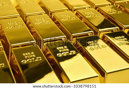 Stack of gold bars. Financial concepts.