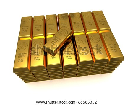 Stack of golden bars with one top 3D rendered isolated on white