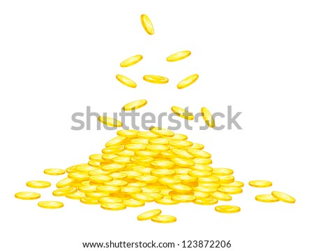 Stack of golden coins for wealth or lucky concept design. Vector version also available in gallery