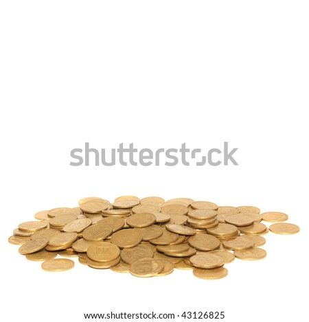 Stack of golden coins with copyspace isolated on white - stock photo