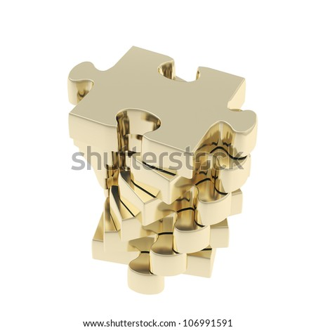 Stack of golden puzzle jigsaw glossy pieces isolated on white