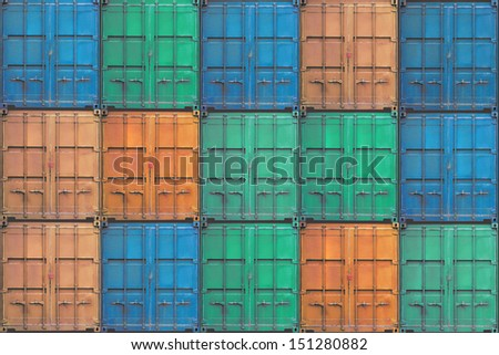 Stack of grunge containers in shipyard