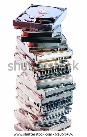 Stack of hard discs on the white background