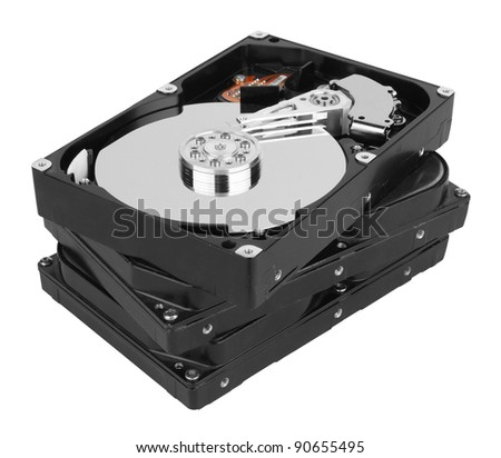 stack of hard disk isolated on white background