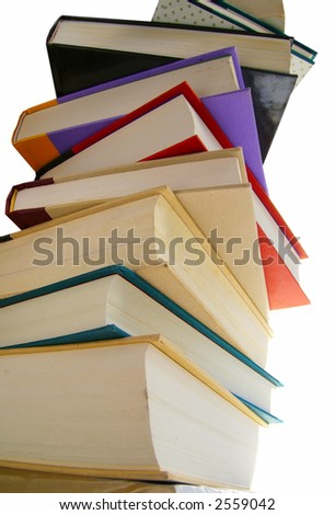 Stack of hardcover books isolated on white