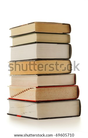 Stack of hardcover books isolated on white background