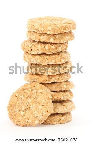 Stack of home made golden oatmeal and sesame cookies