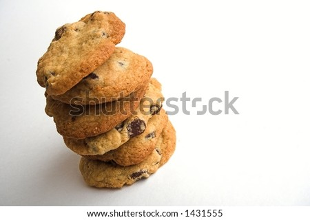 stack of homemade chocolate chip cookies