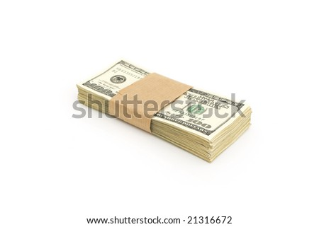 stack of hundred dollar bills against white background
