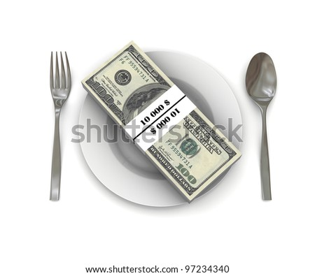 Stack of hundred dollar bills on a plate. Spoon and fork. 3D rendering