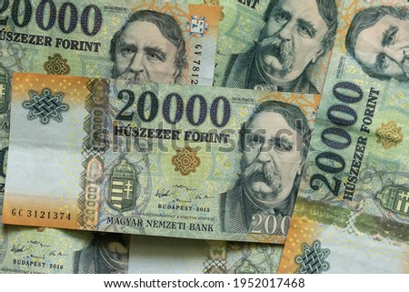 Stack of 20000 Hungarian Forint banknotes with Ferenc Deak on it as background, hungarian currency, banking wealth and econonomy concept, savings Foto d'archivio ©