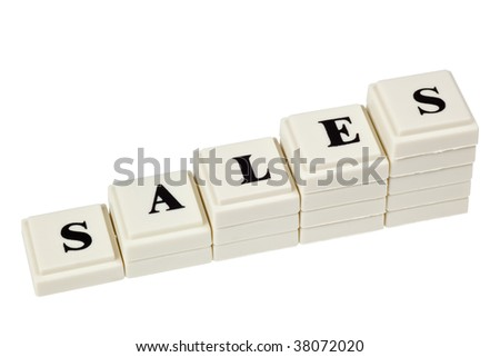Stack of increasing blocks showing the word SALES isolated on white background