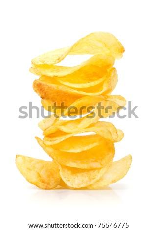 Stack of irregular shape crunchy potato chips on white background