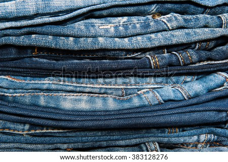 Stack of jeans, Background  fashion jeans.