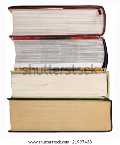 Stack of large books, isolated on white