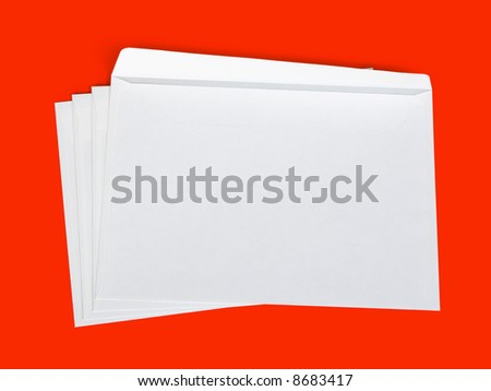Stack of letters, isolated on red background