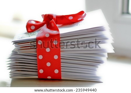 stack of letters with the dot band/ stack of christmas greeting letters