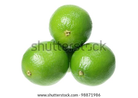 Stack of Lime on White Background