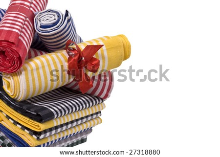 Stack of Linen kitchen towels isolated on white background