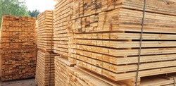 Stack Of Lumber. Sawmill, wood processing, timber drying