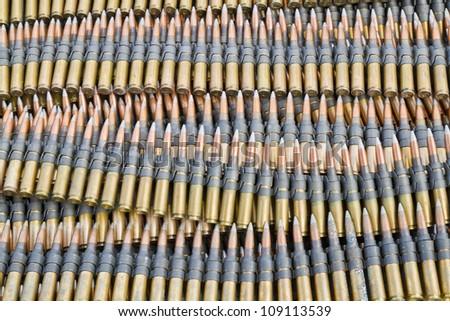 Stack of  machine gun ammunition
