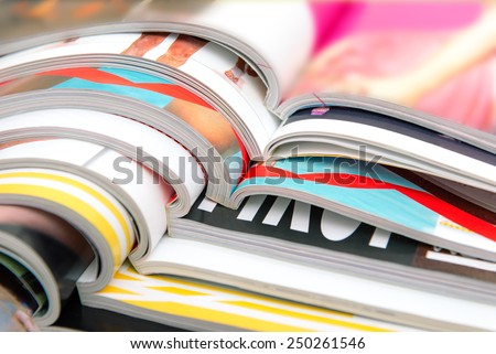 Stack of magazines - Shutterstock ID 250261546