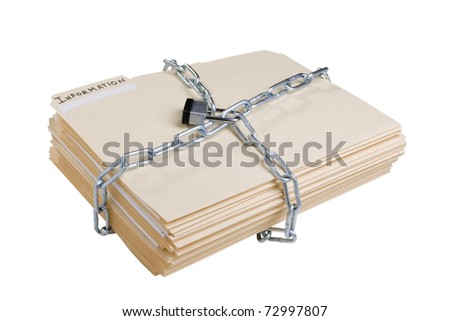Stack of manila folders wrapped with a metal chain and closed with a lock.