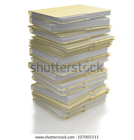 Stack of manila office folders or files on white background