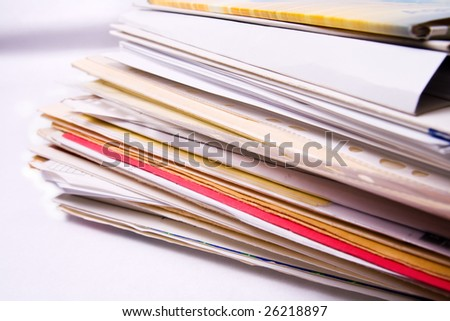 Stack of messy document office folders