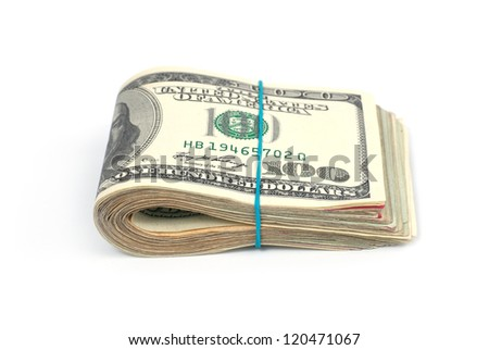 Stack of money- cash of US dollars isolated on white background