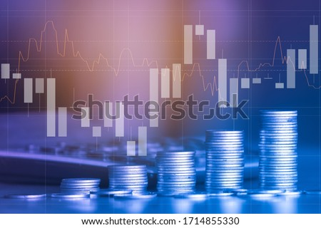 Stack of money coin with trading graph, financial investment concept can be use as background Foto d'archivio ©