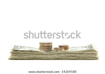 Stack of Money & Coins Isolated on a White Background.