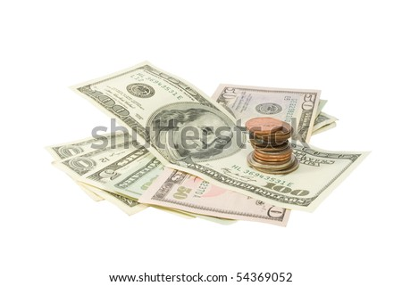 Stack of Money & Coins Isolated on a White Background