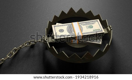 Stack of money dollars as bait inside the trap. Concept money lures you into a trap. A bear trap with a chain. 3d render. Foto stock ©