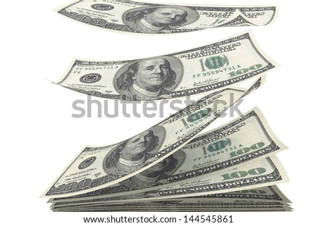 stack of money fall on white isolated background