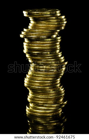 Stack of money. Isolated on black. - stock photo