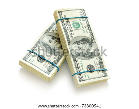 stack of money  isolated on white background