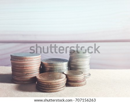 stack of money. rows of coins...