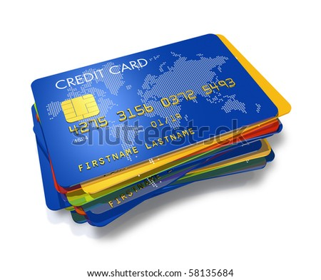 stack of multi colored credit cards with worldmap print isolated on white - stock photo