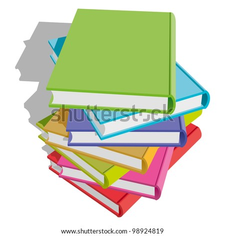 Stack of Multicolor Books on White Background. Rasterized Version