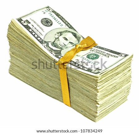 Stack of New United States Currency Tied in a Ribbon - Fives