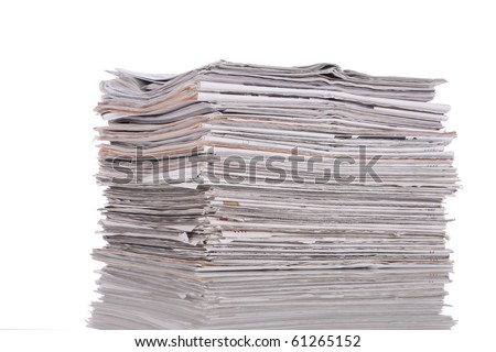Stack of newspaper isolated on white