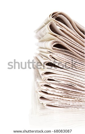 stack of newspapers isolated on white and reflection