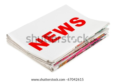 Stack of newspapers News isolated on white background