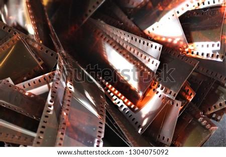 Stack of nostalgic filmstrips